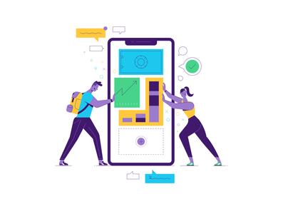 Kuda Bank startup bold minimalist web spot illustration character vector illustration
