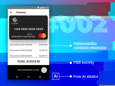 Creditcardcheckout.bmp #dailyui 002 mister robot mr. robot app android illustrator free freebie dailyui checkout card credit