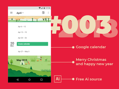 Day 3 — Calendar #dailyui ai illustrator android free freebie material design ui google calendar