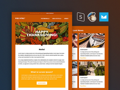 Freebie Thanksgiving Email Template By PSDHTML Dribbble - Thanksgiving email template