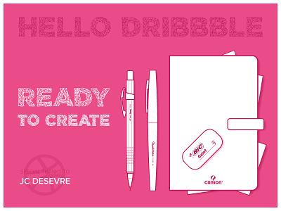 Hello Dribbble first shot polya font illustrator illustration pen paper debut