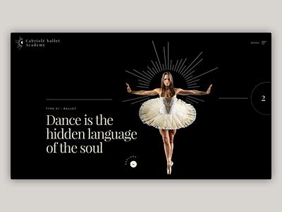 Minimal Dance Webpage hero section hero banner academy dance visual design experiment ui uiux ballet black web web design landing design landing minimal minimalist minimalism