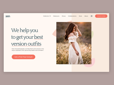 Quick Exploration of Webpage UI fashion illustration pastel pastel color website fashion design fashion colors visual design experiment ui uiux user experience user interface design user interface web hero banner web design webdesign minimalist