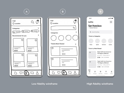 App wireframe sketches concert concept ticket resale black  white high fidelity low-fiedelity wireframing wireframe apple ios app design app design visual design experiment uiux ui