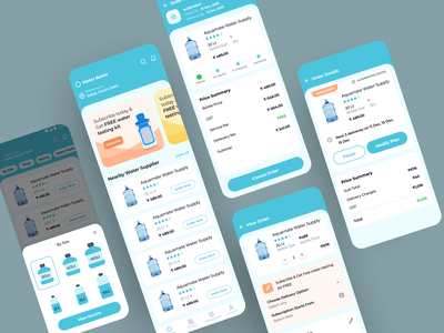 Drinking Water Delivery App Concept Exploration exploration explore concert concept medium blog water bottle uiux user interface design colors ux visual design experiment ui