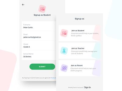 Educational App(WIP) experiment app ui modern minimal icons education app colors signup ux ui