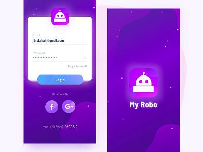 Robotic Personal Assistant App(WIP) login ai ux ui uiux app design robotic app iphone x color ultra violet 2018