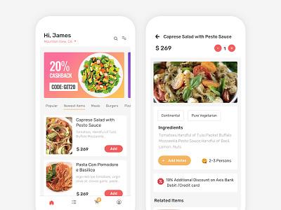 Food Delivery App app screens app food restaurant visual design uiux user interface design