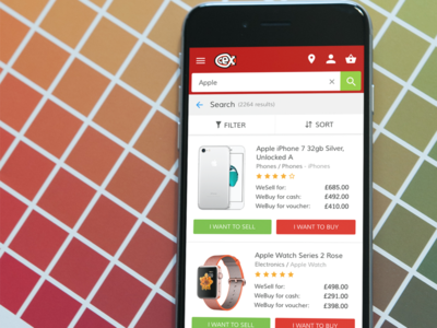 Search result screen  product search basket buy app mobile result search
