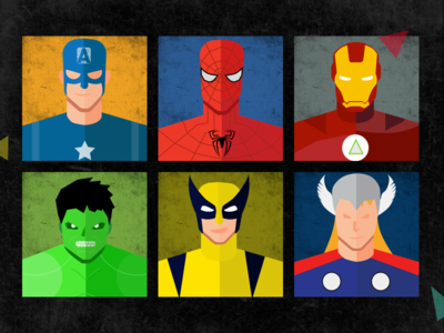 Marvel Superheroes Vector design posters for user profiles