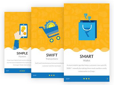 Onboarding screens for CINQO wallet app onboarding wallet app