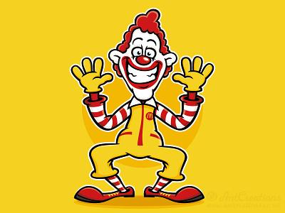 Ronald McDonald Cartoon illustration clown cartoon character vector illustration vector