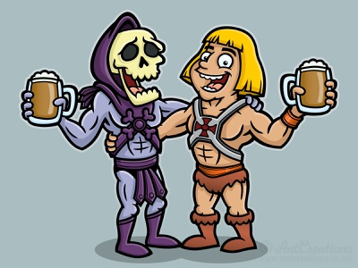 He-Man and Skeletor Cartoon 80s beer illustrator illustration vector illustration vector cartoon skeletor he-man