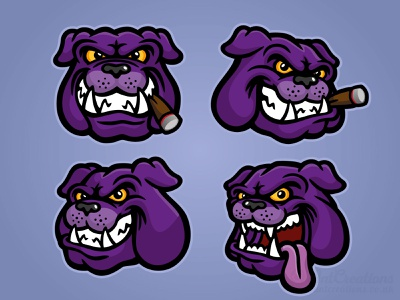 Purple Bulldog Heads illustration illustrator dog illustration vector illustration vector canine bulldogs bulldog