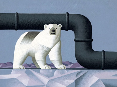 Oil on the Pole artwork illustrator conceptual illustration editorial illustration illustrationart illustrationartist illustration digital illustration agency illustration north pole bear oil drilling oil