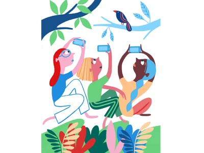 Birds, by Emma Schmid illustration digital illustrator conceptual illustration illustrationartist illustration people central park new york parks lifestyle illustration fun flat color colorful editorial illustration emma schmid birds
