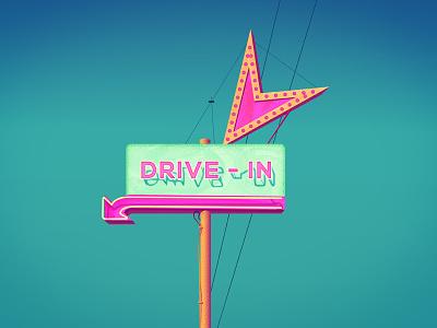 Vintage dinner neon sign road trip interstate dinner neon sign digital illustration