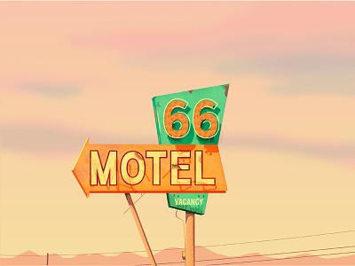 Vintage motel sign road trip interstate motel neon sign digital illustration