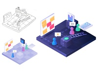 Hacking User research sketch and colors study