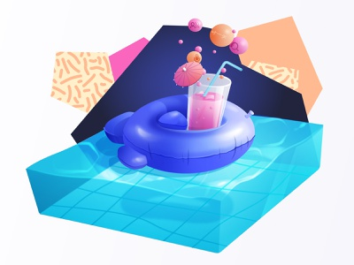 Algolia Summer '19 vector illustration buoy pattern nineties eighties cocktail swimming pool pool party pool floatable toy algolia search
