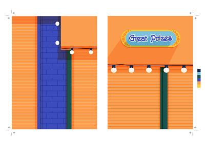 Luna Park Arcade, Coney Island vector flat nyc brooklyn coney island park prize arcade illustration