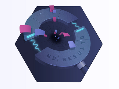Built an effective No results page blackhole vortex space magnifying glass digital illustration algolia search
