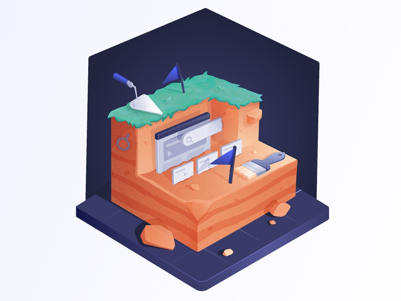 Search and Content Discovery isometric fossil archeology discovery vector illustration search algolia