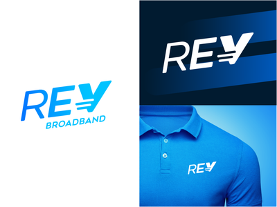 REV Broadband technology movement speed telecommunication telecom logo