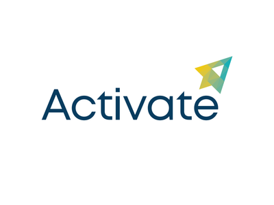 Activate Conference cursor rocket branding pixelated conference technology logo