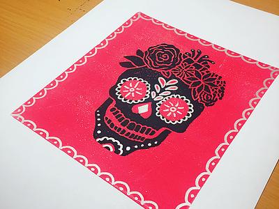 Candy Skull Blockprint blockprint skull