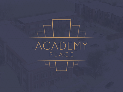 Academy Place Logo retro retirement keystone academy school logo
