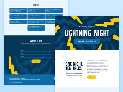 Activate Lightning Night Microsite figma technology meetup conference microsite lightning one page onepage