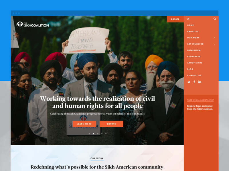 Sikh Coalition Site web design website navigation nonprofit