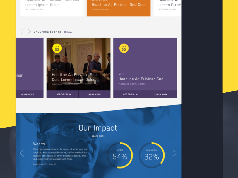 UWUA Local 369 Site Design trade union web design website nonprofit