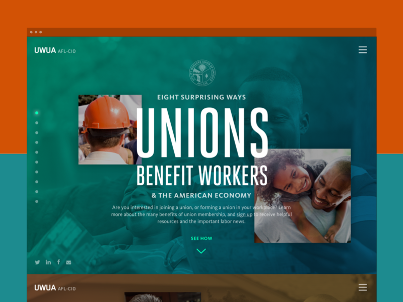 UWUA Minisite trade union web design microsite minisite website nonprofit