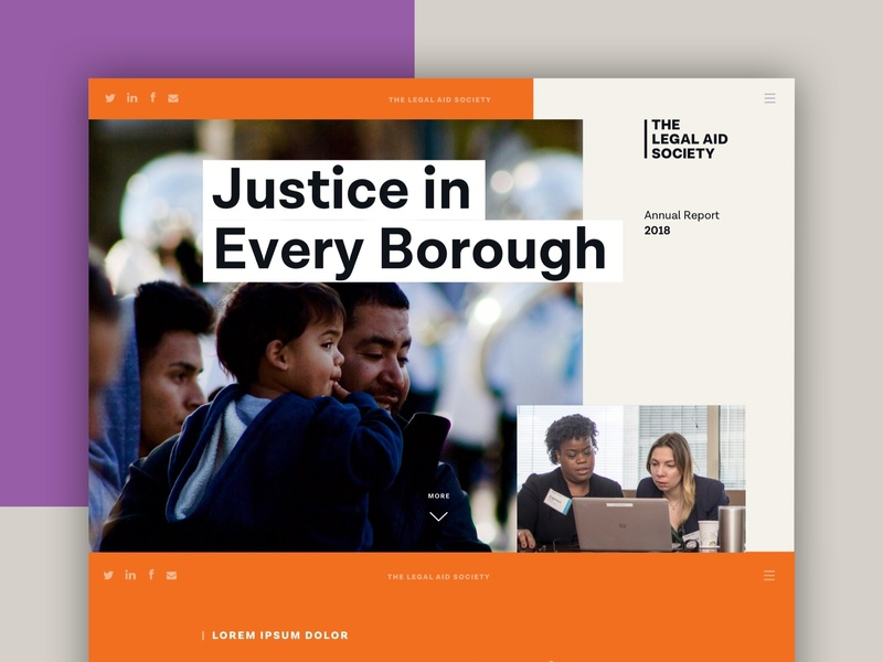 Legal Aid Society Digital Annual Report annual report microsite web design nonprofit