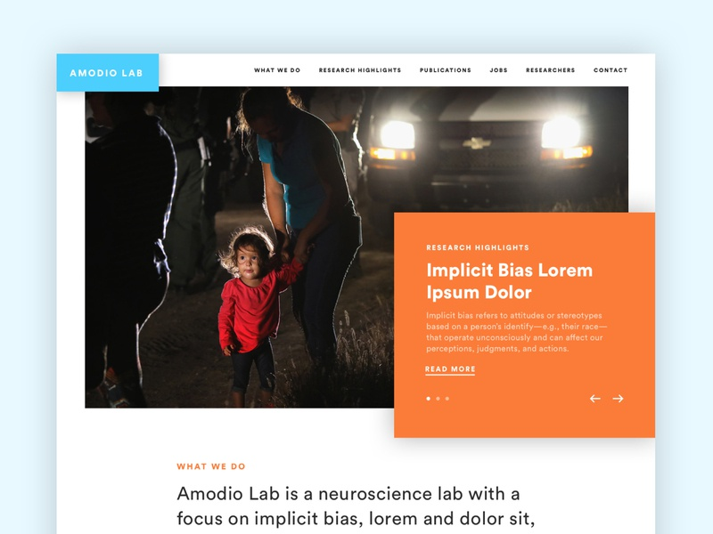 Amodio Labs website university web design website nonprofit