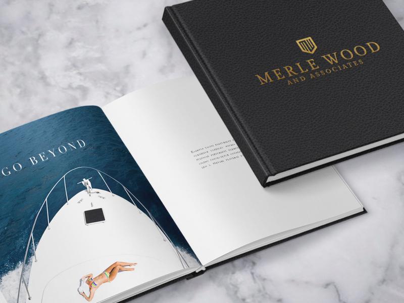 Merle Wood Logo Option mockups luxury yachting concept logo branding