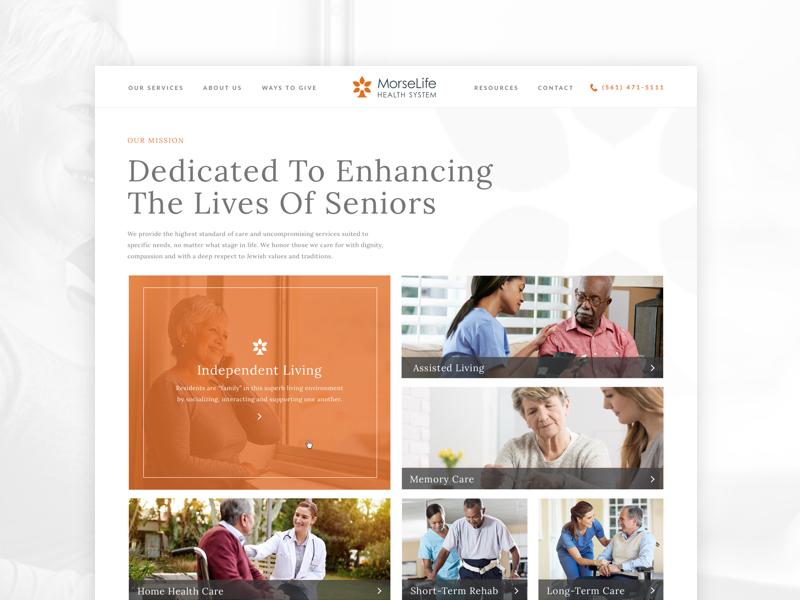 MorseLife Health System housing health care mobile website senior living residence ux ui