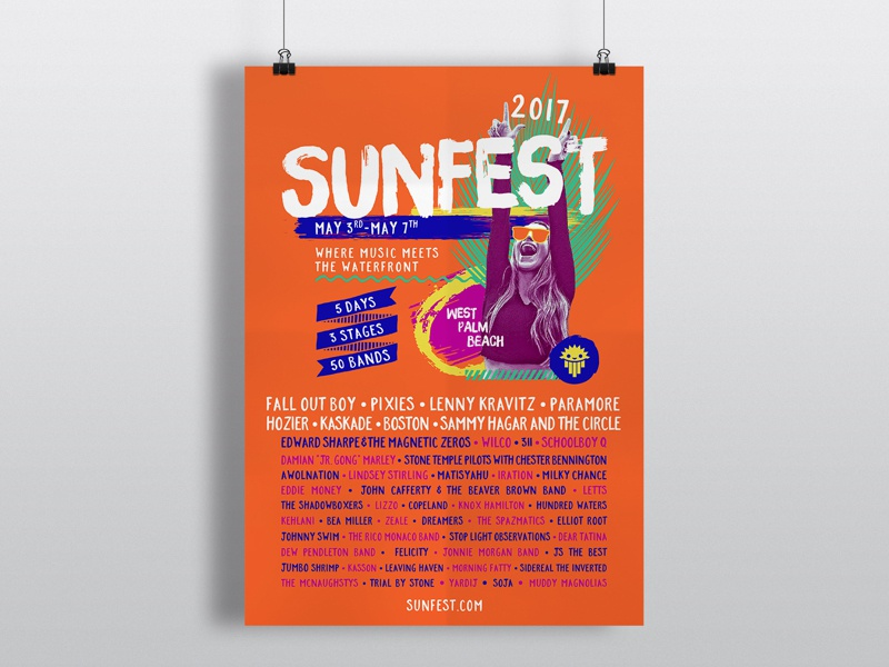 SunFest Lineup Poster tropical waterfront west palm beach lineup sunfest music festival poster