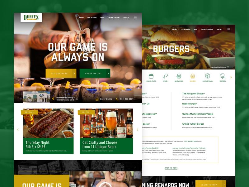 Duffy's Sports Grill menu florida bar sports online order ux ui website
