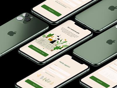App for the local floristic shop typography illustration design app ux graphic design ui