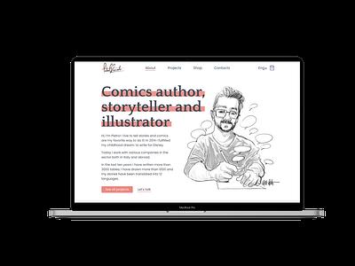 Personal website of comics book author cv personalwebsite personal disney desktop comics comic vector logo adaptive 404 typography ux ui illustration design