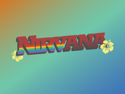 Nirvana 2018 (New) extrude typography illustrator vibrant rainbow gradient vectorr