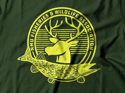 NMU Fisheries & Wildlife Assoc. (WIP) moose fish design marquette michigan identity illustrator vector