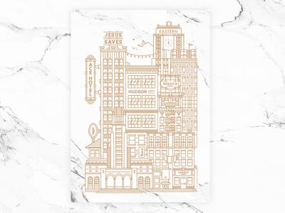 Save the Dates downtown la los angeles texture marble illustration wedding savethedates