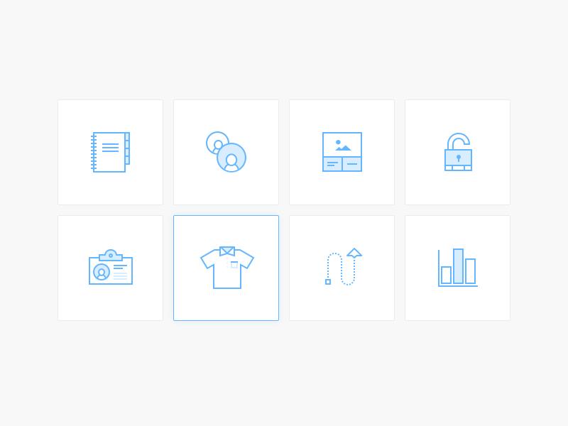 Promote Icons flying graph lock tshirt like work line art icons illustration