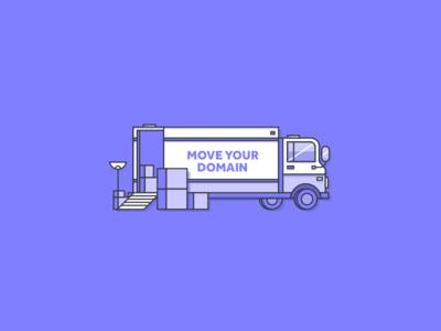 Transfer your domain 2stroke linework purple illustration vector