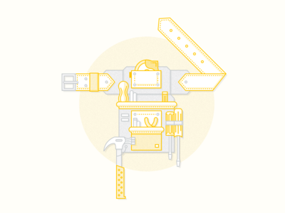 Toolbelt 2tone grey yellow 2stroke weebly illustration