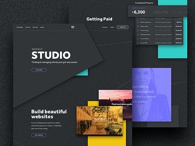 Designer Landing dark ui slide blocks colors bold page landing